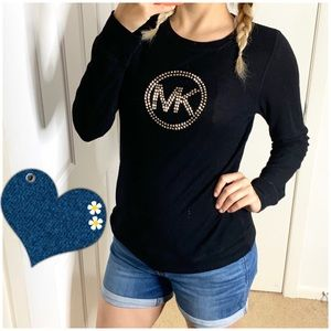 Michael Kors Tops - Michael Kors Black Studded Thermal Long Sleeve Top